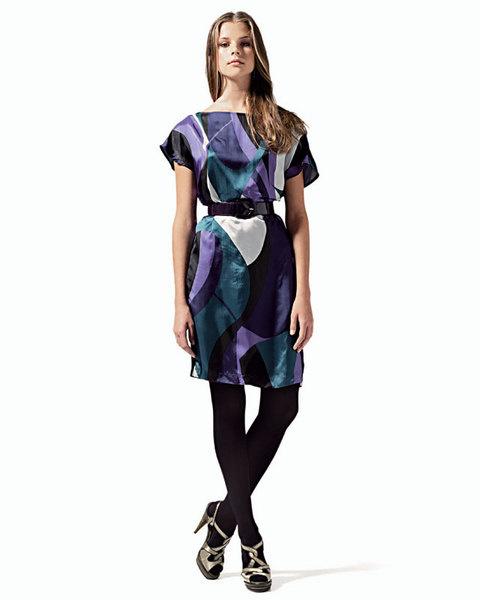 Платье из вискозы, United Nations Colors;ремень, Max&Co.;туфли, Missoni