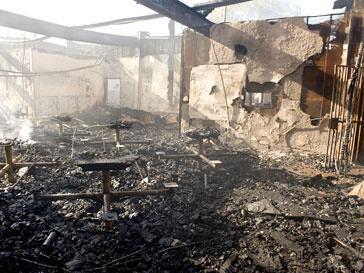 Вид разрушенного огнем здания