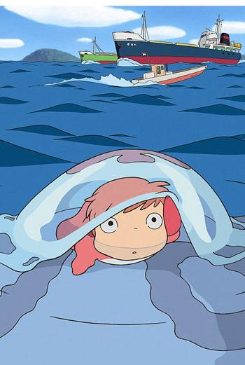 Кадр из фильма «Рыбка Поньо на утесе».