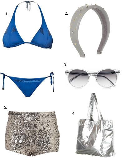 1. Купальник Calvin Klein Swimwear; 2. аксессуар для волос Miu Miu; 3. очки Prism; 4. сумка Topshop; 5. шорты Topshop