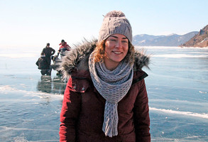 Аглая Тарасова на съемках фильма «Лед»