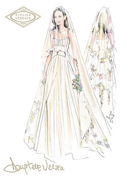 Эскиз свадебного платья Анджелины Джоли от Versace