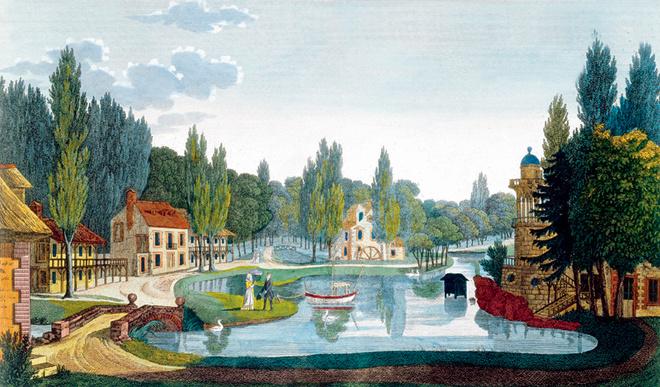 Идиллическая деревня Марии-Антуанетты в Версале, спроектированная Ришаром Миком в 1783–1785 годах, изображена на гравюре XIX века.