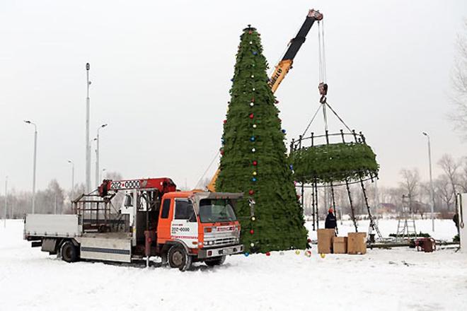 На острове Татышев уже начали устанавливать елку