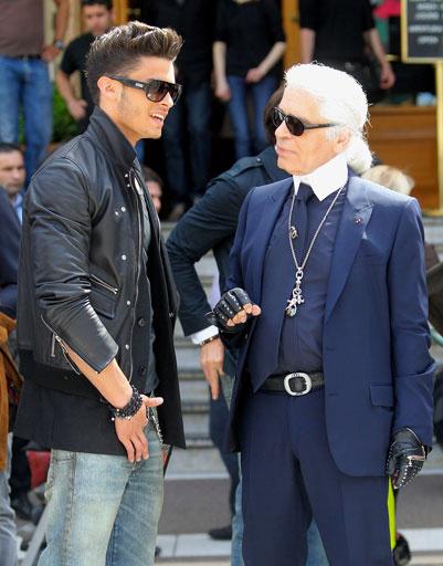 Батист Джиабикони (Baptiste Giabiconi) и Карл Лагерфельд (Karl Lagerfeld)