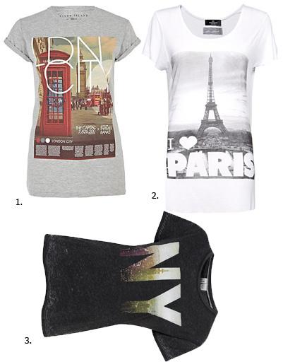 1. Футболка River Island; 2. футболка Mango; 3. футболка Topshop