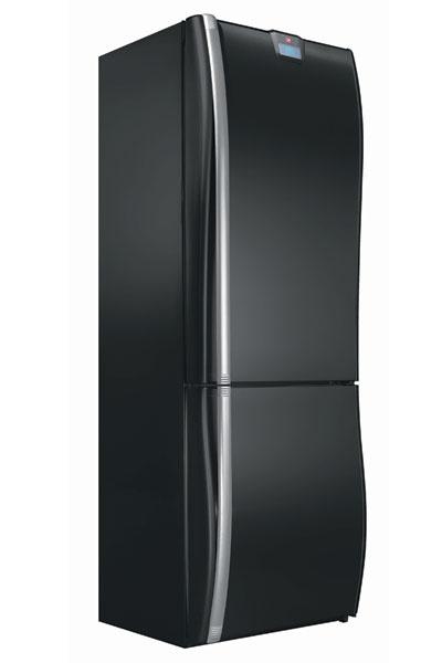 Холодильник с нижней морозильной камерой, модель HVNP 4587 (Hoover), новинка, цвет – черный.