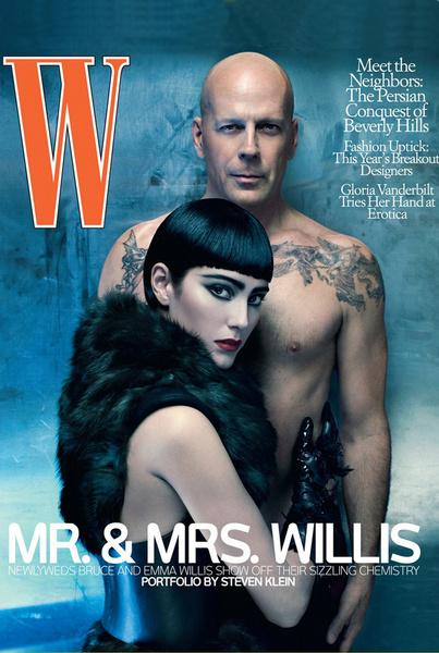 Брюс Уиллис и Эмма Хеминг на обложке журнала W