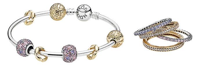 Pandora Кольца, золото, серебро, кубический цирконий