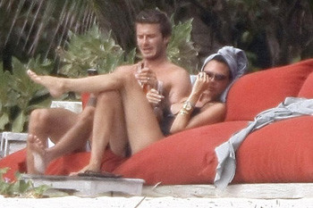 Дэвид и Виктория Бэкхем на острове Necker