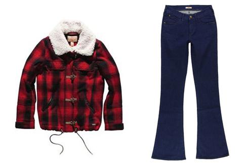Куртка Levi's (5900 р), джинсы Wrangler (от 2000 р)