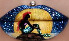 Визажист создает необычные картины на губах