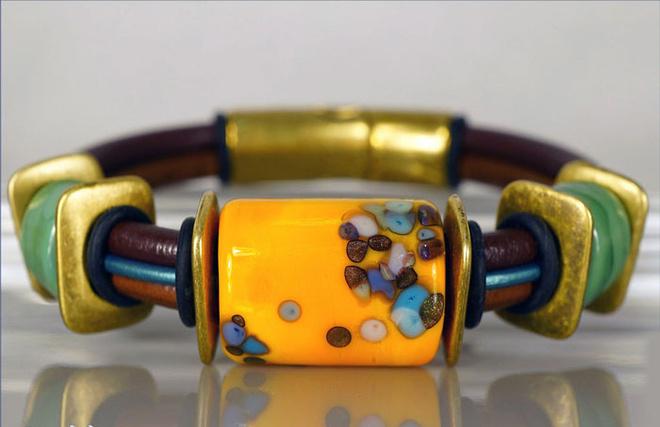 Браслеты лэмпворк (стекло ручной работы), хэнд мейд, украшения из стекла