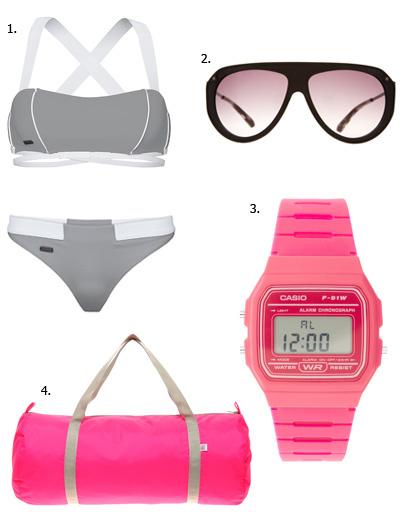 1. Купальник adidas; 2. очки Marc by Marc Jacobs; 3. часы Casio; 4. сумка American Apparel