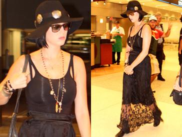 Кэти Перри (Katy Perry) появилась в аропорту Майами в готическом образе