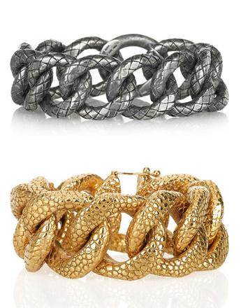 Серебристый браслет Bottega Veneta, золотистый браслет Yves Saint Laurent