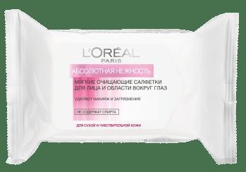 L'Oreal, «Абсолютная нежность», салфетки для снятия макияжа
