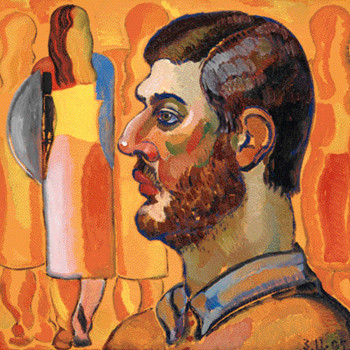 «Василий на фоне своих картин», 2005 год