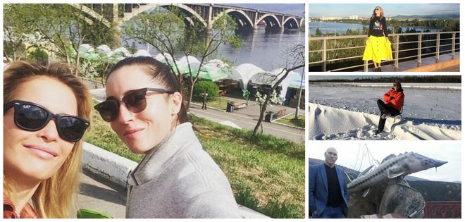Во время поездки в Красноярск край звезды находят время сфотографироваться на фоне наших пейзажей.