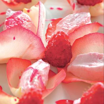 Малина со взбитым творогом и розовой водой