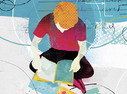 Подросток в окружении книг и гаджетов