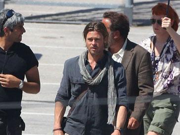 Брэд Питт (Brad Pitt) на съемках фильма «Мировая война Z»