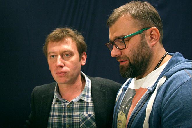 Михаил Трухин и Михаил Пореченков на съемках комедии Позвоните Мышкину