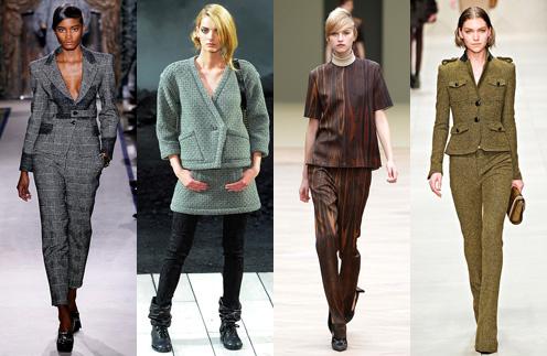 С юбкой или брюками - такие костюмы актуальны в коллекциях YSL, Chanel, Celine, Burberry