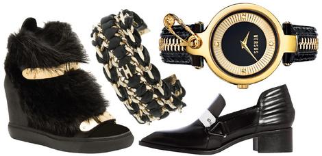 Кеды, Giuseppe Zanotti Design, 60 000 руб.; браслет, Elisabetta Franchi, 16 750 руб.; часы Key Biscyan, Versus Versace, 11 000 руб.; ботинки, Maje, 27 350 руб.