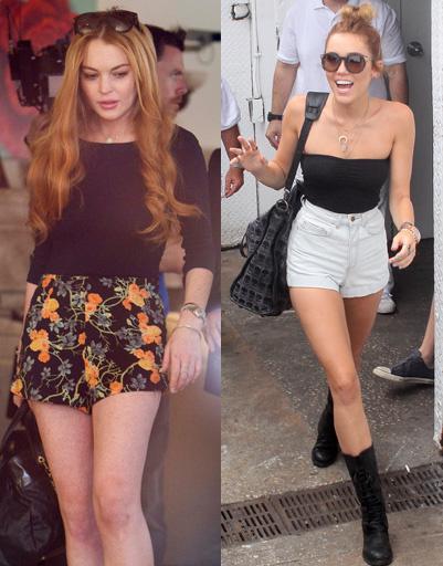 Линдсей Лохан (Lindsay Lohan) и Майли Сайрус (Miley Cyrus)