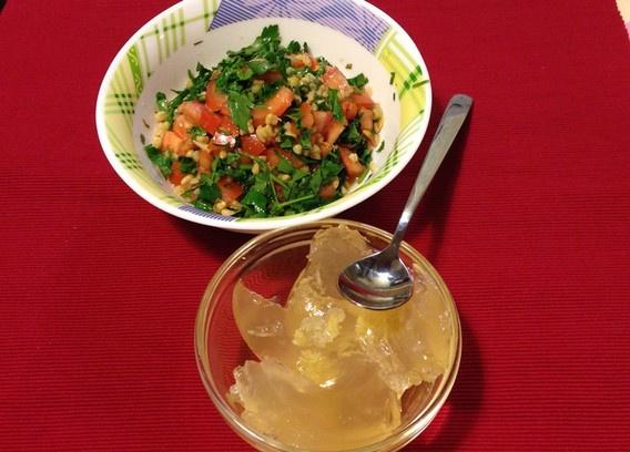 Салат Табуле, лимонное желе