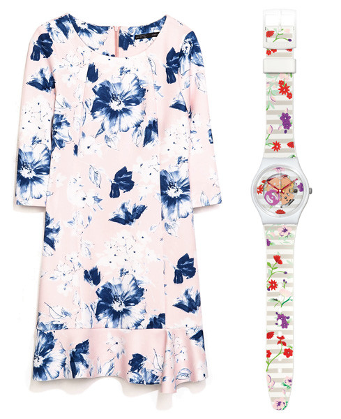 Платье Zara, часы Swatch