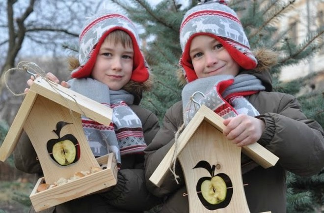 Как сделать кормушку для птиц с ребенком
