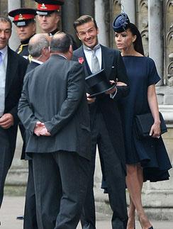 Виктория и Дэвид прибыли на свадьбу принца Уильяма.