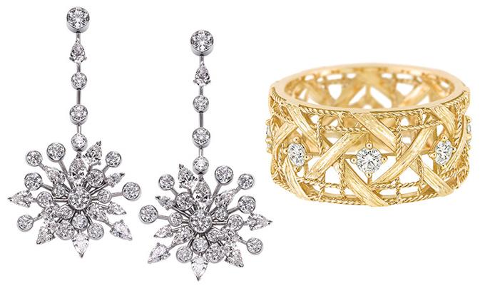 Piaget Серьги Limelight Garden Party, белое золото, бриллианты; Dior Кольцо My Dior, желтое золото, бриллианты