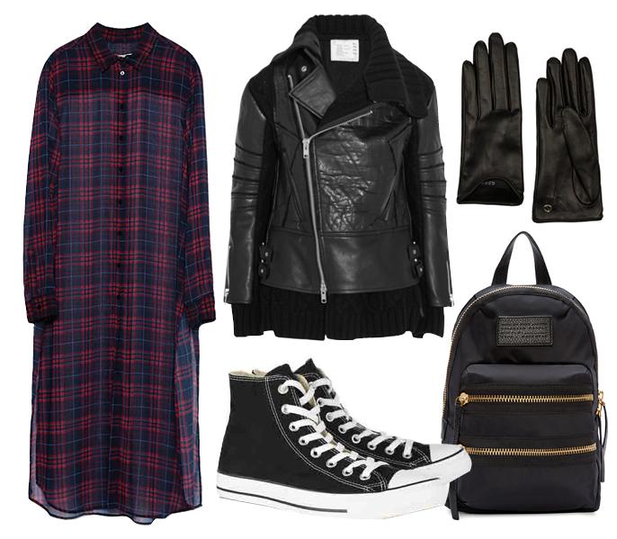 Выбор ELLE: кеды Converse, куртка Sacai, перчатки Gucci, рюкзак Marc by Marc Jacobs