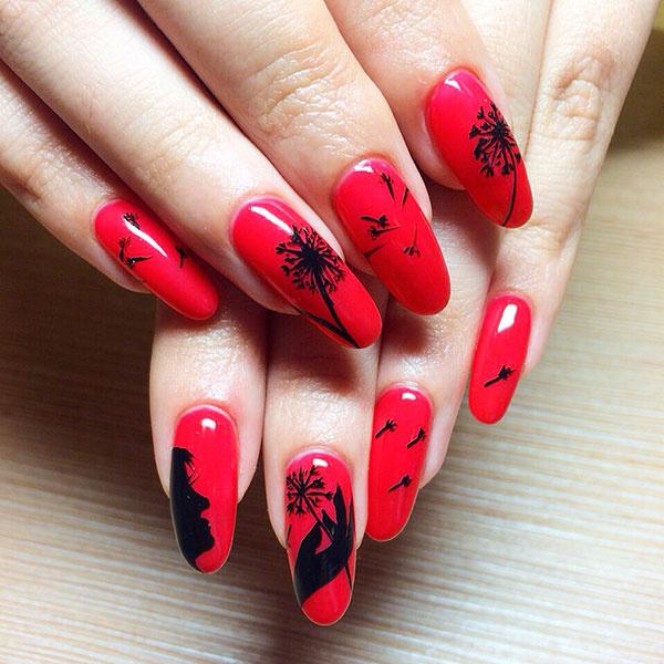 Красный наращивание ногтей