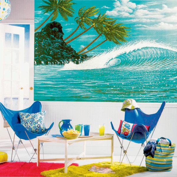 Одна из традиционных для фотообоев тем – экзотические пейзажные зарисовки. Обои Hang ten из коллекции Mural Portfolio (Three sisters studio дляYork Wallcoverings). 23100 руб.