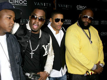 Пи Дидди (P. Diddy), Нелли (Nelly) и Рик Росс (Rick Ross) на вечеринке