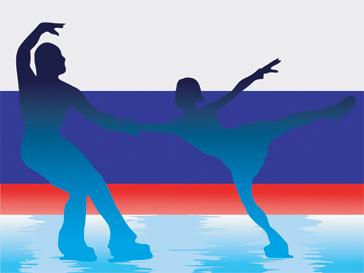 Фигуристы на фоне российского флага