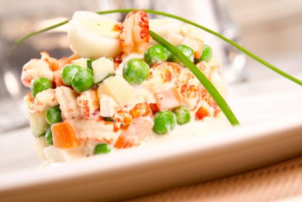 Салат «оливье» с креветками