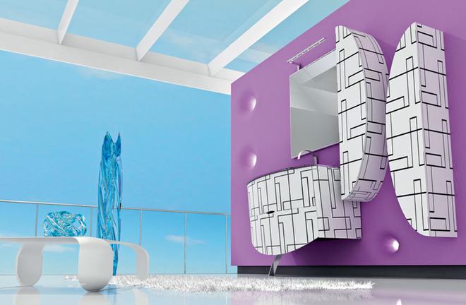 Мебель для ванной с принтами, коллекция Kos, Nova Linea, www.novalineabagni.com.