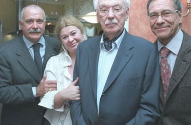 Сергей Михалков с женой, Никита Михалков и Андрей Кончаловский