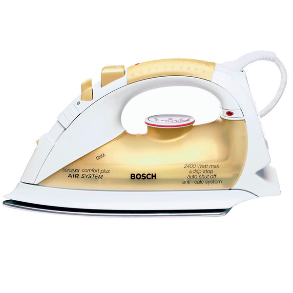 Утюг с пароувлажнением, способный производить паровой удар в вертикальном положении. Модель sensixx comfort TDA 8366 (Bosch), 1800 руб.