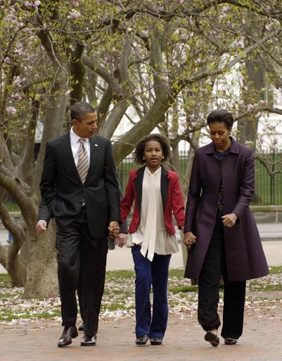 Саша Обама с родителями