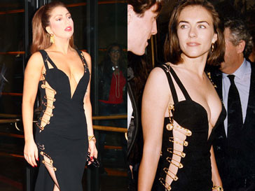 Леди ГаГа (Lady GaGa) и Элизабет Херли (Liz Hurley) в откровенном платье от Versace
