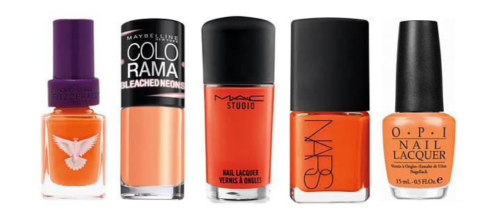 оранжевые оттенки лака для ногтей