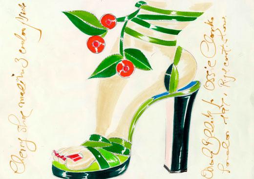 Эскиз туфель Маноло Бланика для Оззи Кларка, 1971 год