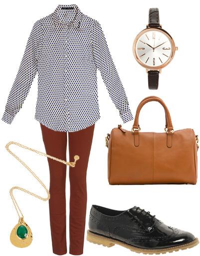 Рубашка Zara, джинсы Topshop, часы River Island, сумка Mango, ботинки Asos, подвеска Monica Vinader