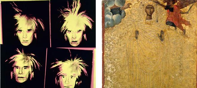 Кислотные работы верующего Энди Уорхола висят в одном зале с древними византийскими иконами.